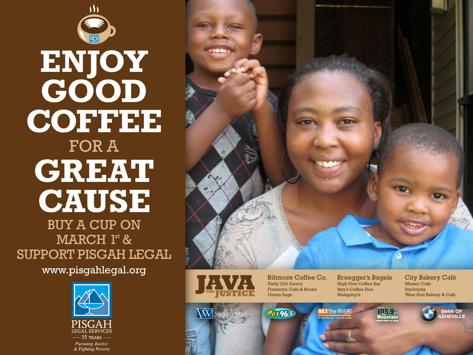 Portfolio Pisgah Legal Services Java for Justice Fundraiser